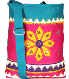 Buy Womens Cottage Fuchsia cotton patch work collage bag jhola-bag online