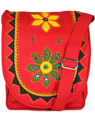 Womens Cottage Red Cotton Patch Work Collage Bag