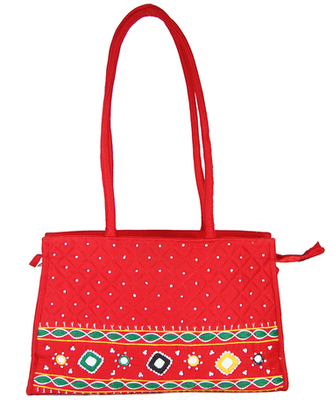 Womens Cottage Red Cotton Patch Work Square Bag