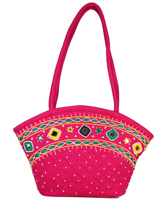 Womens Cottage Fuchsia Cotton Patch Work Purse