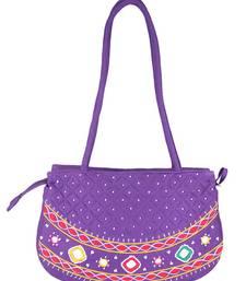 Buy Womens Cottage Purple cotton patch work round purse handbag online
