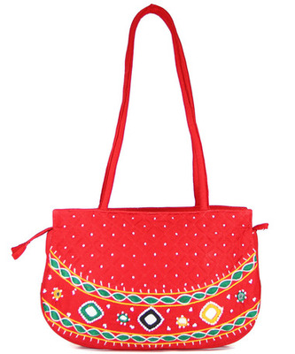 Womens Cottage Red Cotton Patch Work Round Purse