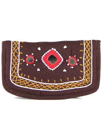 Womens Cottage Brown Cotton Small Mirror Patch Work Hand Purse