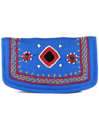 Womens Cottage Turquoise Cotton Small Mirror Patch Work Hand Purse