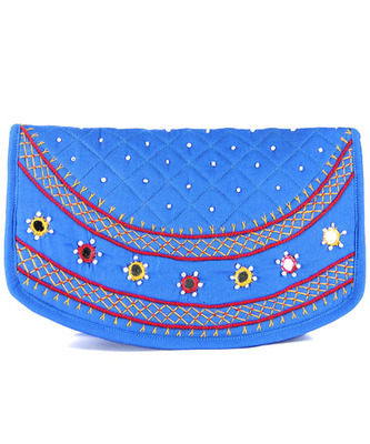Womens Cottage Turquoise Cotton Big Round Patch Work Hand Purse