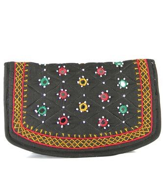 Womens Cottage Black Cotton Big Jali Patch Work Hand Purse