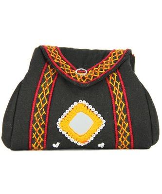 Womens Cottage Black Cotton Samosa Purse