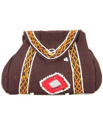 Womens Cottage Brown Cotton Samosa Purse