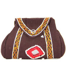 Buy Womens Cottage Brown cotton samosa purse wallet online