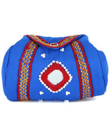 Buy Womens Cottage Turquoise cotton samosa purse wallet online