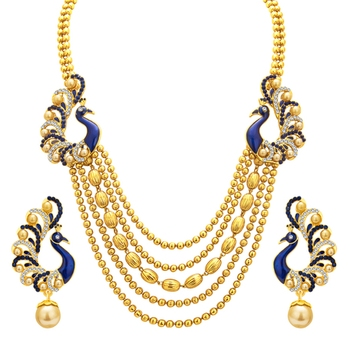 Graceful Five String Peacock Gold Plated Necklace Set For Women