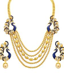 Buy Graceful Five String Peacock Gold Plated Necklace Set For Women hot-deal online