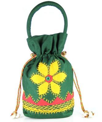 Womens Cottage Bottle Green Cotton Medium Patch Work Batwa Purse
