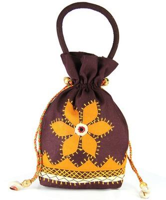 Womens Cottage Brown Cotton Medium Patch Work Batwa Purse