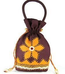 Buy Womens Cottage Brown cotton medium patch work batwa purse potli-bag online