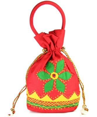 Womens Cottage Red Cotton Medium Patch Work Batwa Purse