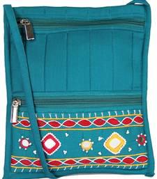 Buy Womens Cottage Blue cotton big patch work side purse handbag online