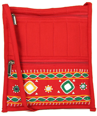 Womens Cottage Red Cotton Big Patch Work Side Purse