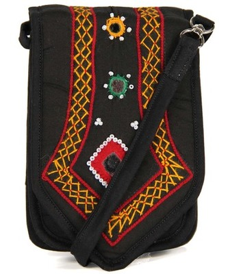 Womens Cottage Black Cotton Patch Work Mobile Pouch