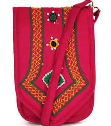 Buy Womens Cottage Fuchsia cotton patch work mobile pouch sling-bag online