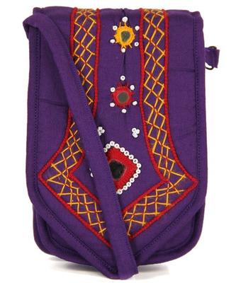 Womens Cottage Purple Cotton Patch Work Mobile Pouch