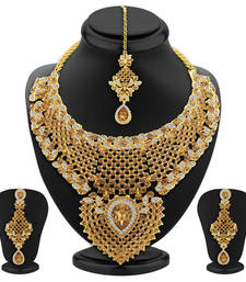Buy Shimmering LCT Stone Gold Plated AD Necklace Set For Women bridal-set online