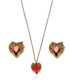 Buy Valentine Heart Combo- Red Heart Necklace and Earrings Combo necklace-set online