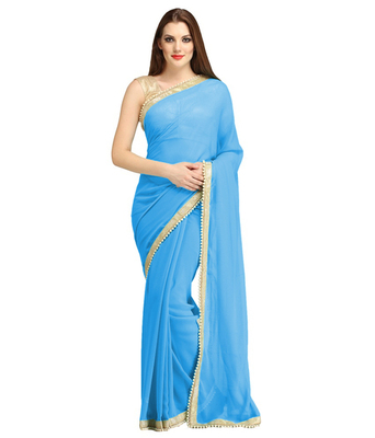 e8c54f642e2060 Blue Georgette Plain Saree With Sleeveless Blouse - MIRA ENTERPRISE -  1135647