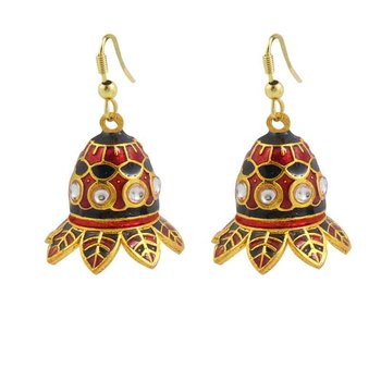 Kundan Meenakari Drop Earring Set
