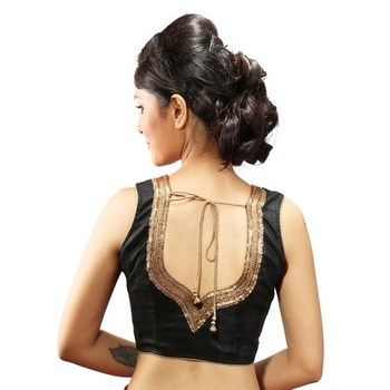 intrigue Black dupion silk handwork stitched readymade blouse