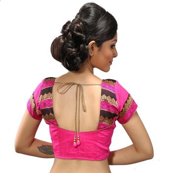 Intrigue Pink dupion silk stitched readymade blouse