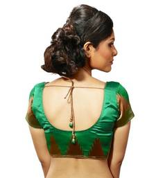 Intrigue Green dupion silk stitched readymade blouse