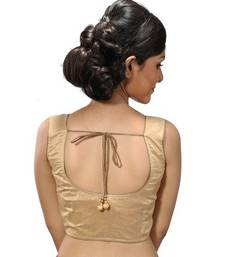 Intrigue Beige dupion silk stitched readymade blouse