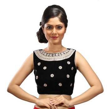 Intrigue classy Black velvet handwork stitched readymade blouse