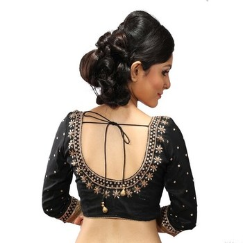 Black dupion silk stitched readymade blouse