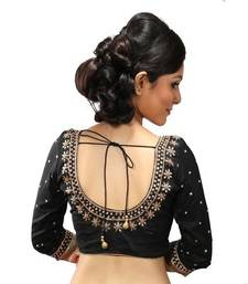 Buy Black dupion silk stitched readymade blouse readymade-blouse online