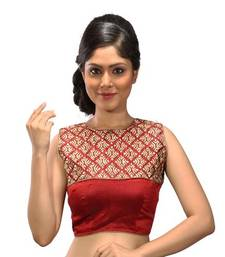 Maroon brocade and dupion silk stitched readymade blouse