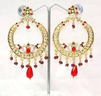 Traditional And Ethnic, Red And Zircon Earring- Indian bridal wear collection