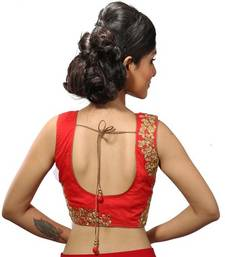 Red chanderi silk stitched readymade blouse