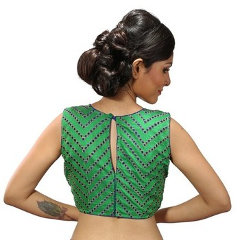 Green chanderi silk stitched readymade blouse