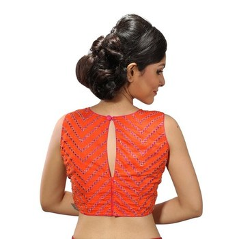 Orange dupion silk stitched readymade blouse