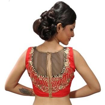 Orange Coloured chanderi silk stitched readymade blouse