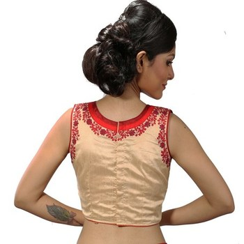 Beige dupion silk stitched readymade blouse