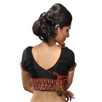 Black dupion silk stitched readymade blouse
