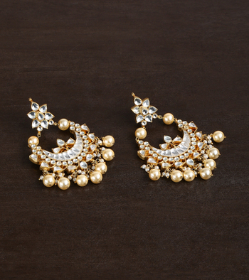 Traditional Kundan Earrings With Pearl Drop