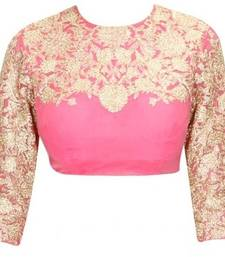 Buy Pink embroidery Raw silk unstitched blouse blouse-neck-design online