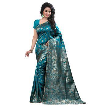 turquoise embroidered banarasi silk saree With Blouse