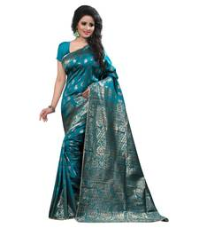 Buy turquoise embroidered banarasi silk saree With Blouse black-friday-deal-sale online