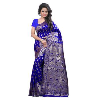 Buy Blue Embroidered Banarasi Silk Saree With Blouse Online