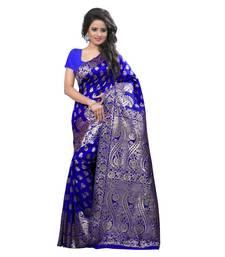 Buy blue embroidered banarasi silk saree With Blouse women-ethnic-wear online